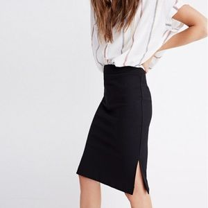 Madewell Black Column Side Slit Pencil Skirt